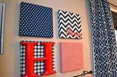 Fabric Covered Canvases, Fun Idea! via @Kim Woodward
