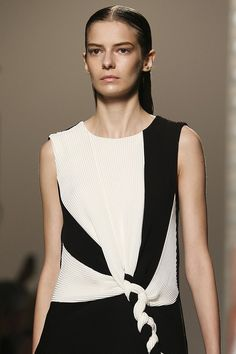 Panelled dress with pleated & braided fabrics; fashion details // Thakoon Spring 2015