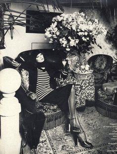 Anjelica Huston wearing Biba