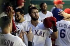 Joey Gallo sustains non-displaced nasal fracture in collision with Matt Bush  -  August 20, 2017:    Texas Rangers slugger Joey Gallo, center, shown after hitting a home run Monday, left Sunday's game after a collision on an infield pop-up. Tony Gutierrez AP