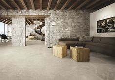 Sight: porcelain stoneware presented in an unprecedented double version: 2 cm thick version for exteriors and 1 cm thick lapped version Sight, the new collection of floors by Ceramiche Keope, is the result of an encounter involving the natural...