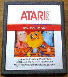 Probablemente este fue el juego que más disfruté cuando mi vecino me prestaba su atari. Ms. Pac-Man Atari 2600 video game cartridge (1982)