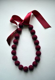 Felted Maroon Necklace - Office Fashion - Christmas necklace