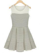 #SummerSheInside Black and White Pinstripes Contrast Chiffon Top Dress