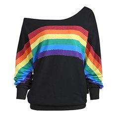 Women T shirt Casual Loose Long Sleeve Rainbow Print Strapless Shoulder Pullover Shirts Sweatshirt tee shirt femme Crop Top Hoodie, Rainbow Outfit, Rainbow Clothes, Rainbow Fashion, Very Short Dress, Rainbow Print, Rainbow Fish, One Shoulder Tops, Cold Shoulder