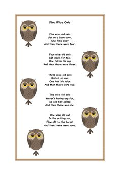 Five Wise Owls Finger Play