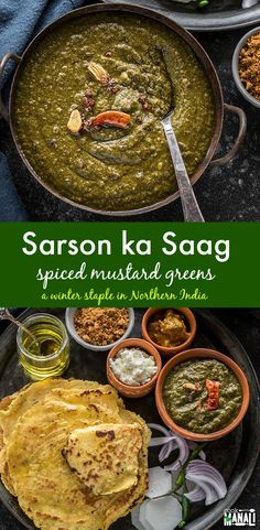 Sarson ka Saag is a winter staple in Northern India. Spiced greens are pureed and then served with makki roti (flatbread made with maize flour) and dollop of butter. It makes a wonderful vegetarian nutritious meal! Veg Recipes, Curry Recipes, Indian Food Recipes, Cooking Recipes, Noodle Recipes, Recipes Dinner, Easy Recipes, Bharta Recipe, Kitchens