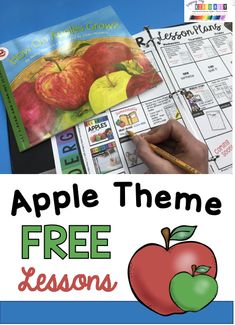 FREE September Lesson Plans for Kindergarten - All About Apples - Apple unit and theme for preschool pre-k and kindergarten first grade printables and activities - apple life cycle - apple tasting and graphs - apple art ideas and lessons Apple Activities Kindergarten, Preschool Apple Theme, Kindergarten Units, Kindergarten Lesson Plans, Preschool Themes, Enrichment Activities, Preschool Science, Kindergarten Apples, Preschool Apples