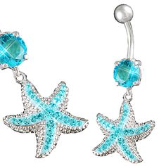 Brightness is spectacular, the color is very cute. Beautiful aquamarine starfish belly ring. #bellyrings