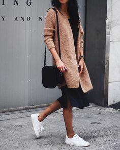 You said you like this, right? ✔️ // @cosstores cardi, #aninebing dress, #veja kicks ✌️