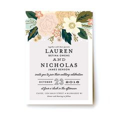 "Brides: Printed Floral Wedding Invitation. ""Classic Floral"" printed wedding invitation, starting at $234 for 100 invitations, Minted"
