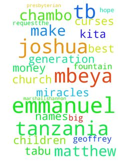 Prayer Request,The God of Tb Joshua - Prayer Request,The God of Tb Joshua should make the best big miracles on Our Charrison Fountain children hope orphans ministry in mbeya Tanzania plus our church Presbyterian in Mbeya Tanzania and Our University Teofilo kisanji in Mbeya Tanzania ,The God Of Tb Joshua should heal us from generation curses , Our Names Geoffrey k Chambo, Marshallshannon Chiona, Stella Tabu M, Kita Lwesha Chambo We need the God Of Tb Joshua should make money not dry. On our…