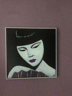 """""""Demure"""" 40x40cm canvas oil paint on acrylic"""