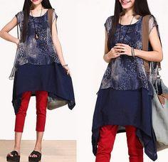 blue Cotton Chiffon splicing dress Loose Fitting Linen Sleeveless T Shirt Blouse Women summer Dress spring clothes loose long dress (362) on Etsy, $79.99
