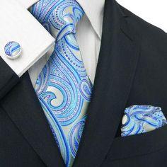 """3PC Necktie Set Color: Blue 59"""" Length, 3.75"""" Width"""