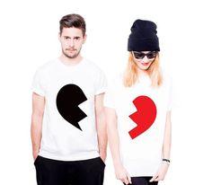 17bbc403b9e4f3 Prezent Damian · *T-Shirt dla Par +Dwie Połówki serca +* - 160 G Bawełna