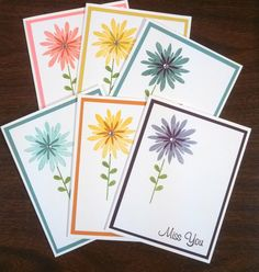 A Pile of Miss You cards for OWH, very Clean & Simple, using Stampin Up's Flower Patch Stamps in various colors.