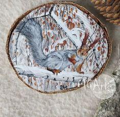 Acrylic Paint On Wood, Painting On Wood, Squirrel, Vintage World Maps, Hand Painted, Handmade, Decorating, Art, Dekoration