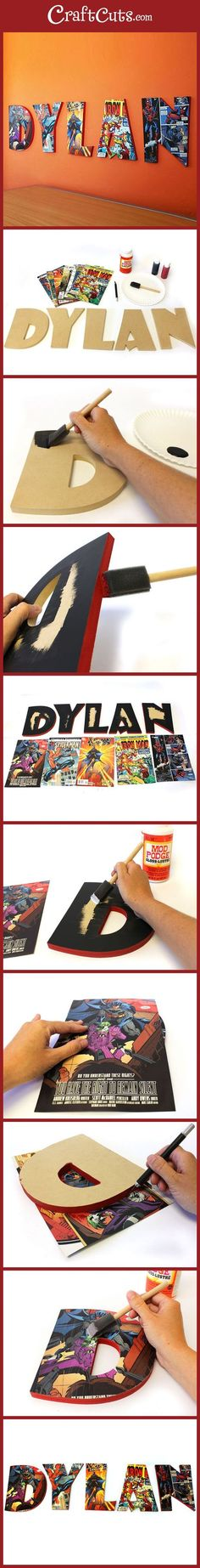DIY Comic Book Letters Custom Wood Letters + Comics is part of Comic books diy - How to make Comic Book Letters with wooden letters, a couple of comics and Mod Podge to seal the deal Custom kids room wall letters with comics Superhero Room, Superhero Party, Book Letters, Wooden Letters, Diy Letters, How To Make Diy, Custom Wood, Boy Room, Diy For Kids