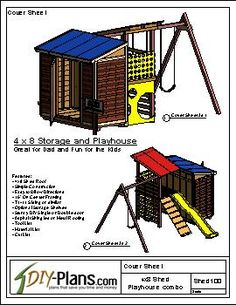 Playhouse swing set plans home outdoor wooden playsets for Storage shed playhouse combo plans