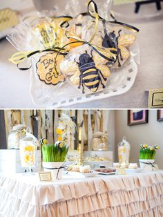 What will it bee?  Baby shower reveal party- this would be fun to give for someone!  Also- I think I need one of those tablecloths!!