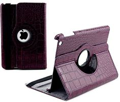 """myLife Natural Lit Plum Purple {Colored Crocodile Texture} 360 Degree Rotating Case for Apple iPad Mini 1, 2 and 3 (High Quality Koskin Faux Leather Cover + Slim Lightweight Design) """"All Ports Accessible"""" myLife Brand Products http://www.amazon.com/dp/B00TSTUTVE/ref=cm_sw_r_pi_dp_qLgdvb0YEX9BF"""