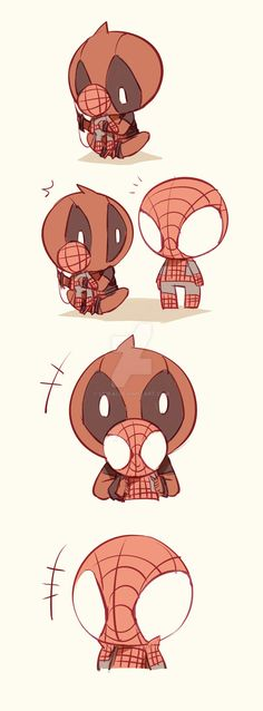 This Gallery is for all the Spideypool fans! Spiderman x Deadpool= 💖 (Spideypool role playing is also available here! Deadpool X Spiderman, Deadpool Kawaii, Cute Deadpool, Spideypool, Superfamily, Marvel Art, Marvel Dc Comics, Marvel Avengers, Dead Pool