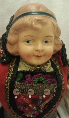 Vtg Antique Celluloid Head Molded Ethnic Dress Doll Incredible Costume Finland #Dolls