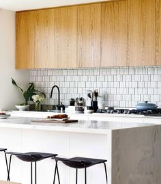wood cabinets midcentury kitchen
