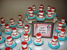 Happy Birthday Dr Seuss Cupcakes For Celebration. Dr Seuss bday party