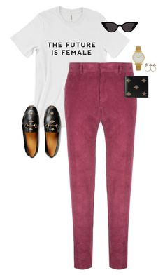 """Untitled #13761"" by alexsrogers ❤ liked on Polyvore featuring Bally, Gucci and Larsson & Jennings"