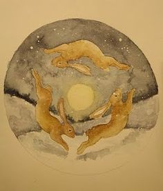 Solstice Hares. take out the background and this would be a great tattoo