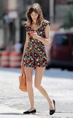 Back to Basics- Week of August 20, 2012: WHO: Alexa Chung WHAT: Anna Sui dres, Charlotte Olympia shoes WHERE: On the street, New York WHEN: August 13, 2012