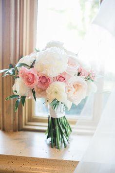 White & blush beauties: http://www.stylemepretty.com/oklahoma-weddings/oklahoma-city/2015/10/07/romantic-blush-gold-ballroom-wedding-in-oklahoma/   Photography: Amanda Watson - http://amandawatsonphoto.com/: