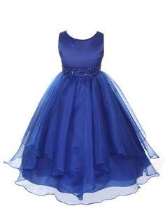 Girls Asymmetric Ruffles Satin Flower Dress, Royal Blue, 10, (CB302-RB-10)