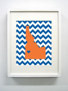 Boise Idaho State Giclée Print 8x10 Orange and by PaintedPost, $14.00