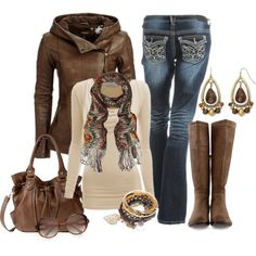 Fall Outfit brown leather jacket cream shirt jeans and brown tall boots
