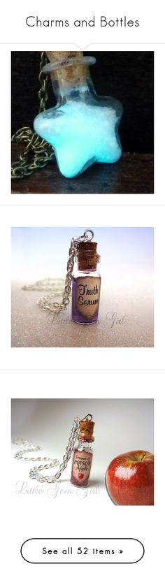 """Charms and Bottles"" by laugh-out-loud11 ❤ liked on Polyvore featuring jewelry, necklaces, charm pendant, aqua charms, aqua blue jewelry, steampunk jewellery, cocktail jewelry, magic, steam punk necklace and cork necklace"