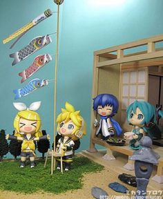 Rin: FLYING FISHIES! Len: Ohh,cool Kaito:As long as I get meh ice cream... Miku: I BROUGHT CAKE!