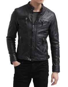 Leather Jacket Real Lambskin Men's Motorcycle Slimfit Biker Black Jacket 2XS-3XL #LeatherLifestyle #Motorcycle