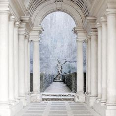 Columned hallway, entrance to Avalon's gardens
