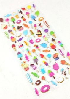 ♥♥♥ Cute Kawaii Icecream, Candy, & Sweets Puffy Stickers (73 count) ♥♥♥ This…
