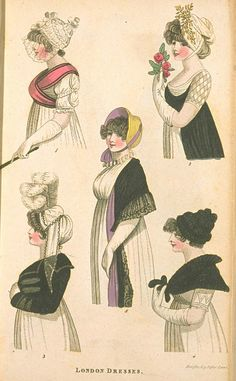 Five Half-Lengths, April 1801, Fashions of London & Paris. An example of a total Early Regency look with the empire waist, flowing neoclassical white dresses, bonnets and outerwear.