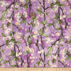 Michael Miller Vignette Cherry Bloom Orchid from @fabricdotcom  Designed by Laura Gunn for Michael Miller, this cotton print fabric is perfect for quilting, apparel and home decor accents. Colors include black, tan, yellow, cream, shades of green, shades of pink, and shades of purple.