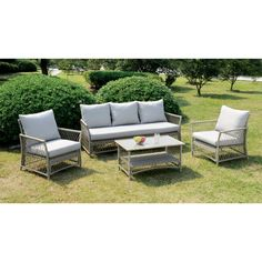 The neutral greys of this conversation set blends well with any outdoor setting. The subtle basket weave creates a side frame for the light grey wicker structure while light grey upholstered cushions comfortingly wrap around the foam filling.