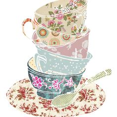 58 Ideas Party Illustration Vintage Tea Cups For 2019 Tee Kunst, Pearl Rose, Cup Art, Teapots And Cups, My Tea, High Tea, Afternoon Tea, Tea Time, Coffee Time
