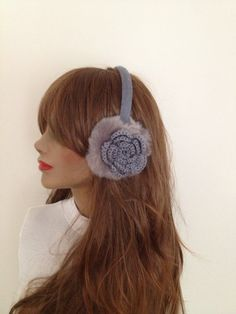FREE SiPPiNG Grey Earmuff, Plush with crochet flower, Winter fur headphones, valentine's day, on sale #gift #shopping #etsy #gifts #ocean #accessory #wintertrend #womenfashion #giftforwomen