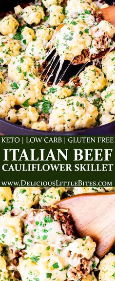 Keto Italian Ground Beef and Cauliflower Skillet - a family friendly, easy-to-make recipe that's perfect for busy weeknights. Chunks of cauliflower and ground beef are cooked in a creamy, tomato-based sauce, then topped with plenty of mozzarella cheese and fresh parsley. With only 5 net grams of carbohydrates per serving, this naturally gluten free recipe is perfect for those following a low carb or keto diet. | #groundbeefrecipes #onepanrecipe #skilletrecipe #ketorecipes
