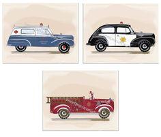 Vintage Ambulance Police Firetruck Art Prints for Boys bedding decor