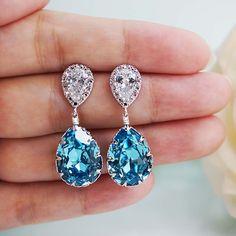 Aquamarine Swarovski Crystal Tear drop Earrings